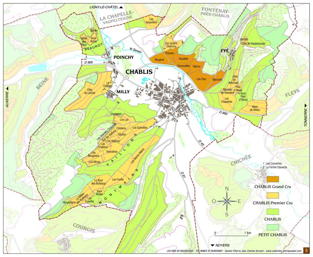 wine map of Chablis vineyards