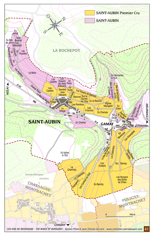 Saint-Aubin Burgundy Wine map