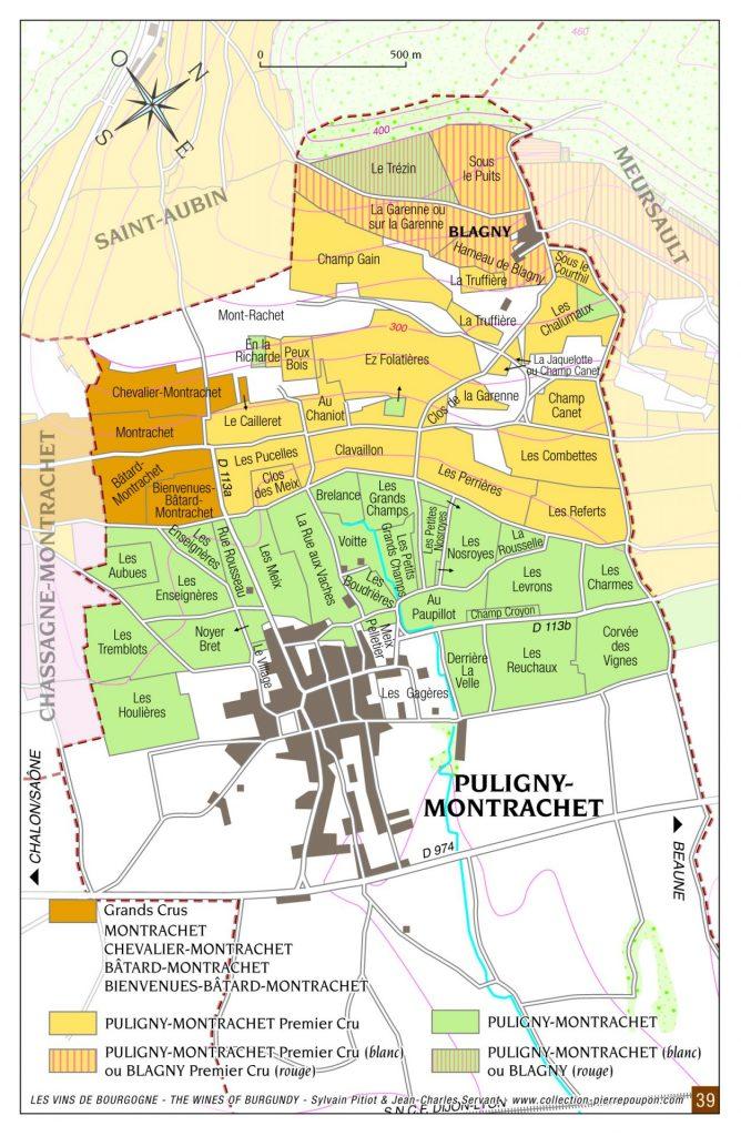 Puligny-Montrachet vineyard map
